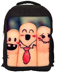 Snoogg Beautiful Finger Painting Backpack Rucksack School Travel Unisex Casual Canvas Bag Bookbag Satchel