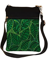Snoogg Abstract Sketch Of Leaf Background Vector Illustration Cross Body Tote Bag / Shoulder Sling Carry Bag