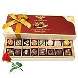 Valentine Chocholik's Belgium Chocolates - Treats Of Dark And White Chocolates With Red Rose