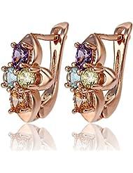 Via Mazzini Rose Gold Plated Multicolour Crystal Earrings For Women (ER0784)