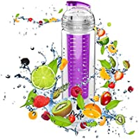 DCOU 28oz 800ML Fruit Infuser Water Bottle With Removable Infuser Basket And Flip Top BPA/EA-free Multiple Colors...