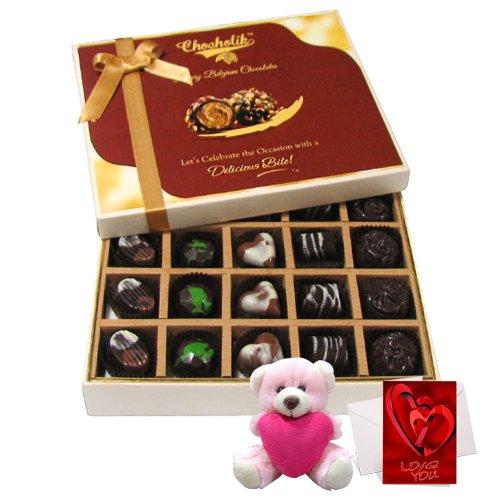 Sweet & Savoury Treat Of Dark And Milk Chocolate Box With Teddy And Love Card - Chocholik Belgium Chocolates