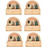 Kapasi Handicrafts Wooden Painting Round Tea / Coffee Coaster With Stand Woman Under Tree-Pack Of 6 Set (LxBXH...
