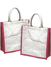 Earthbags Women's Jute Bag White Pink (EB32WhitePink)