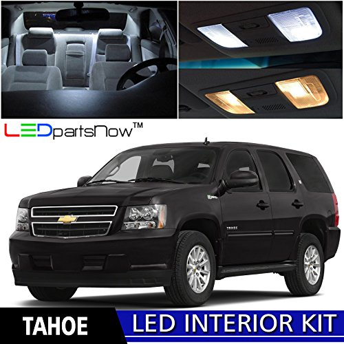 LEDpartsNow Chevy Tahoe 2007-2014 Xenon White Premium LED Interior Lights Package Kit (14 Pieces) + Installation Tool