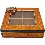 Kiran Udyog Wooden & Paper Mache Dry Fruit Box With Kundan Work 1943