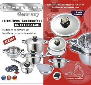 SCHEFFLER Induktion Edelstahl Kochtopfset 16 tlg Topfset