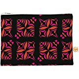 """Kess In House Everything Bag Flat Pouch By Miranda Mol 8.5 X 6 Inches """"Orange On Black Tile"""" (Mm4004 Aep01)"""