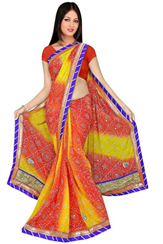 Kala Sanskruti Chiffon And Art Silk Bandhej Design Saree With Work - B00L18Q3I8