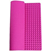 "Premium 15"" X 15"" Double Sided Silicone Baseplate Mat Pink Roll Up Base Plate With Large And Small Pegs (Compatible..."