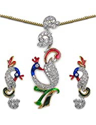 15.30 Grams White Cubic Zirconia Gold Plated Brass Blue, Green & Red Enamel Peacock Shape Pendant Set