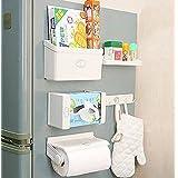Styleys Refrigerator Storage Rack 5 IN 1 Magnetic Tissue Paper Roll Holder Spice Rack Towel Rack Hook Rack Cruet...
