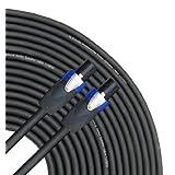 GLS Audio 100 Feet Speaker Cable 12AWG Patch Cords - 100 Ft Speakon To Speakon Professional Cables Black Neutrik...