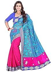 Styleon Women's Brasso & Net Sarees (Blue , 1082 Blue _ Pink)