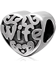 Choruslove I Love You Wife Heart Charm Antique 925 Sterling Silver Bead For European Charm Bracelet