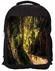 """Snoogg Falling Sun Light In Forest Casual Laptop Backpak Fits All 15 - 15.6"""" Inch Laptops"""