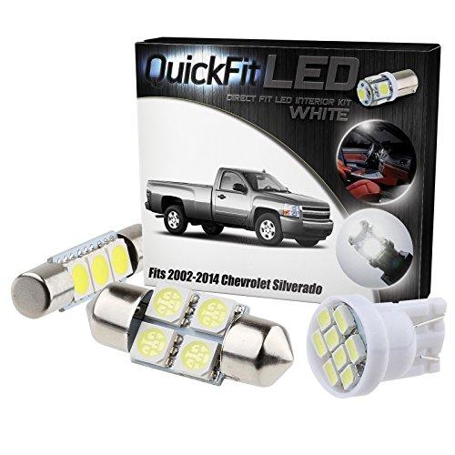 QuickFitLED White LED Interior Light Package Kit For Chevrolet Silverado 2002-2014 (15pcs)