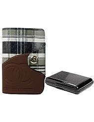 Apki Needs Long Tan Mens Wallet & Black Colored Credit Card Holder Combo