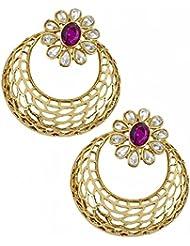 The Jewelbox Filigree Chaand Bali Gold Plated Purple Stud Earring For Women