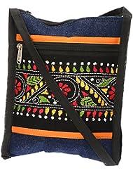 Shanti Niketan Home Made Products Women's Sling Bag (Blue And Black, SNHMP25)