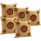 Idrape Velvet 5 Piece Cushion Cover Set- Gold, 40 Cm X 40 Cm