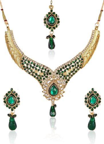 Shining Diva Divine Kundan Necklace Set With Maang Tika For Women