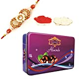 Skylofts Chocolate Coated Almonds Big Rectangular Tin Box With Rakhi & Teeka