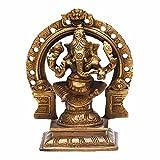 Indian Arts Shop Ganesha On Stool Singhasan Brass (6.35 Cm X 8.64 Cm X 16.26 Cm, )