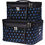 Travel Train Case - Cosmetic - Toiletry - 2 Pc. Set, Black With Blue Polka Dots