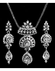 White Stone Studded Pendant With Chain And Earrings - Stone And Metal - B00K4F6TII