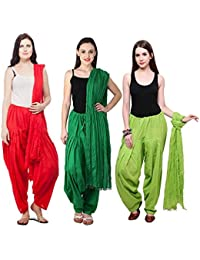 Fashion Store Combo Of Womens Solid Cotton Red Dark Green And Parrot Green Best Ethnic Comfort Punjabi Patiala...