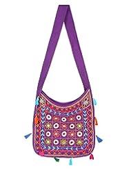 Rajrang High Quality Cotton Embroidered Circles Purple Sling Bag - B015PUUVNK