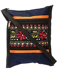 Shanti Niketan Home Made Products Women's Sling Bag (Blue And Black, SNHMP20)