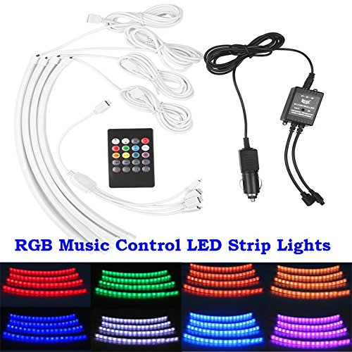 Lumcrissy 4pcs 7 Color Music Control LED Car Interior Underdash Lighting Kit With Wireless Sound Activated IR Remote Control And Car Charger