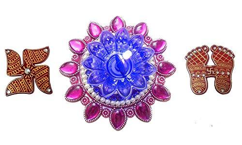 Bold N Elegant Pink & Blue Finely Decorated Handcrafted Designer Floating Diya Candle With LED Lights & Holy Laxmi...