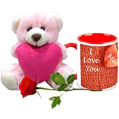 Valentine Gifts HomeSoGood The First Love White Ceramic Coffee Mug With Teddy & Red Rose - 325 Ml