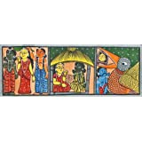 "Dolls Of India ""Ramayana Katha"" Kalighat Painting - Water Color On Paper - Unframed (71.12 X 27.94 Centimeters..."