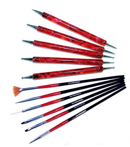 Double Ended Marbling Dotting Pen, 5 Colors & 6 Pc Nail Art Brush Set