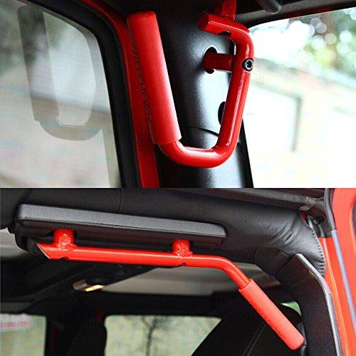Opar Front & Rear Black Solid Steel Grab Handle for 2007 – 2016 Jeep Wrangler 4-Door – Set (Red)