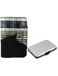 Apki Needs Long Black Mens Wallet & Silver Colored Credit Card Holder Combo