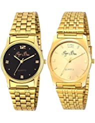 Pappi Boss - PACK OF 2 - Sober & Classic Golden Chain Wrist Watch For Mens, Boys