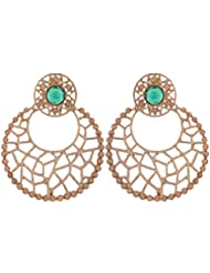 Grandiose TM. Chaand Bali Filigree Antique Rhodium Plated Green Earring For Women