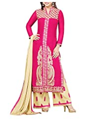 New Pinch Trends Women's Faux Georgette Regular Fit Semistitched Salwar Suit (NTH355014, Pink)