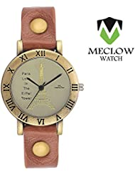 Latest Fashion Light Brown Leather Belt Watch, Round Copper Dial Analog Watch For Girls, Ladies And Womens Paris...
