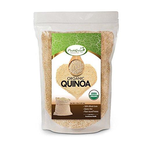 FreshGreen Health Organic White Quinoa 4 LB Bag | Whole Grain | Re-Sealable Bag | Pre-Washed