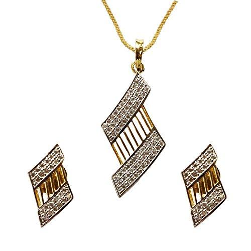 Sheetal Jewellery Silver & Golden Brass & Alloy Pendant Set For Women - B00TIGZOTO