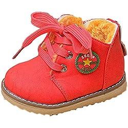 Covermason Winter Kinder Baby Jungen Mädchen Martin Stiefel Warme Schuhe (21 (1-2 Jahre alt), Wassermelonenrot)
