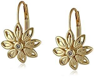 Amazon.com: 10k Yellow Gold Flower Diamond Leverback