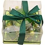 Shagun Glass Candle Holder With Candle (6 Cm X 6 Cm X 2 Cm, Green, Pack Of 2)