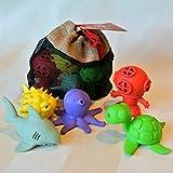 BeginAgain Bathtub Pals 5 Pc Gift Set II - Eco Friendly Rubber Bathtub Toy - Diver, Octopus, Puffer